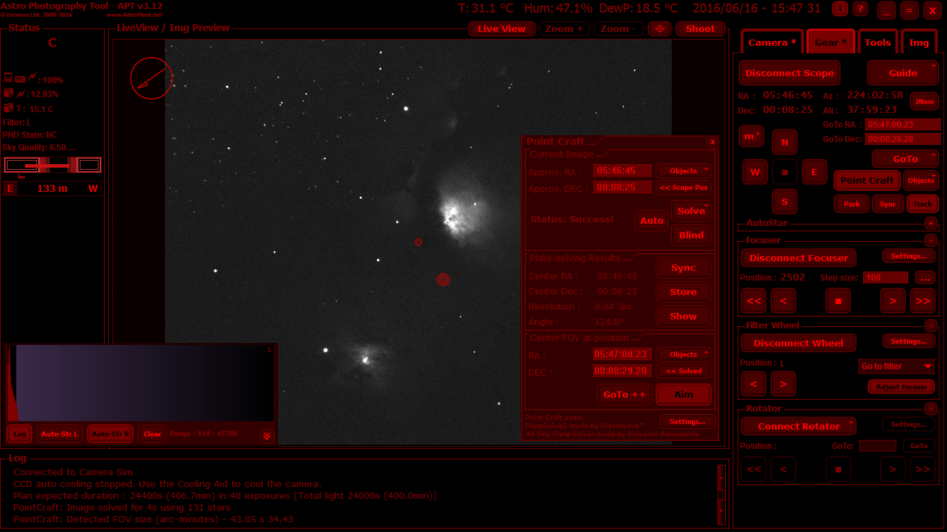 PointCraft, plate-solved image, activated Aim Mode, Gear Tab and Histogram in CCD mode.