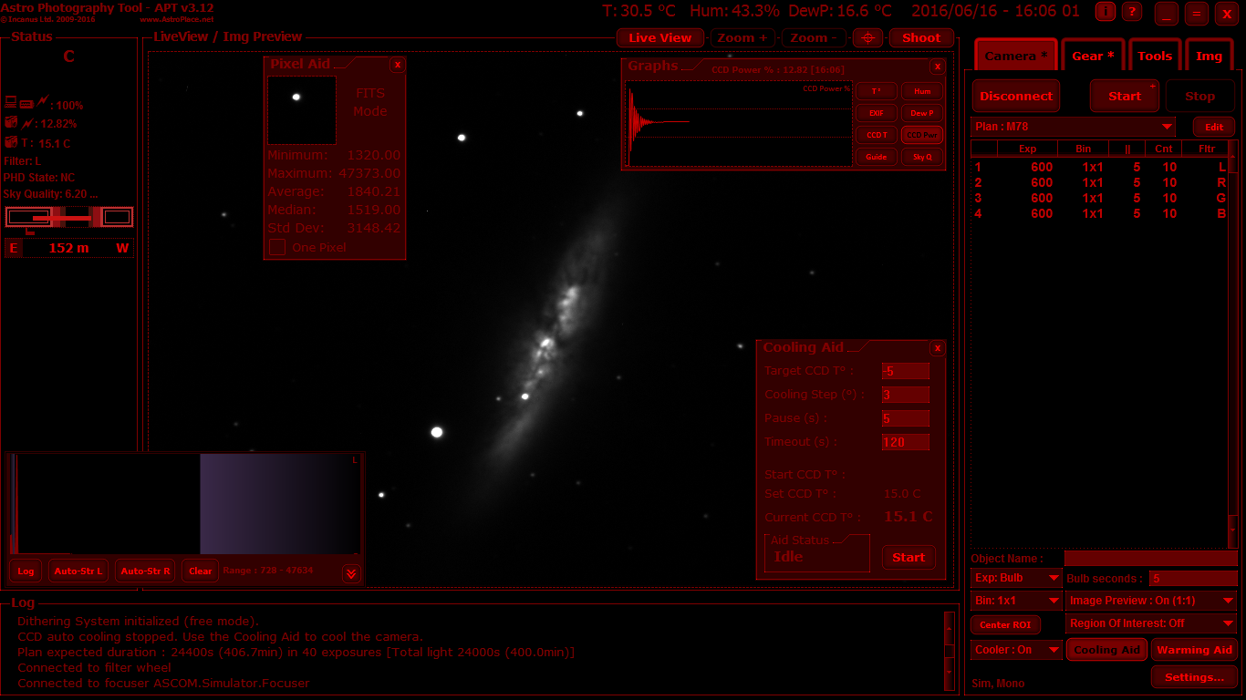 APT in CCD mode. Shows the Camera tab, CCD Histogram, Pixel Aid, Cooling Aid and Graphs panel.