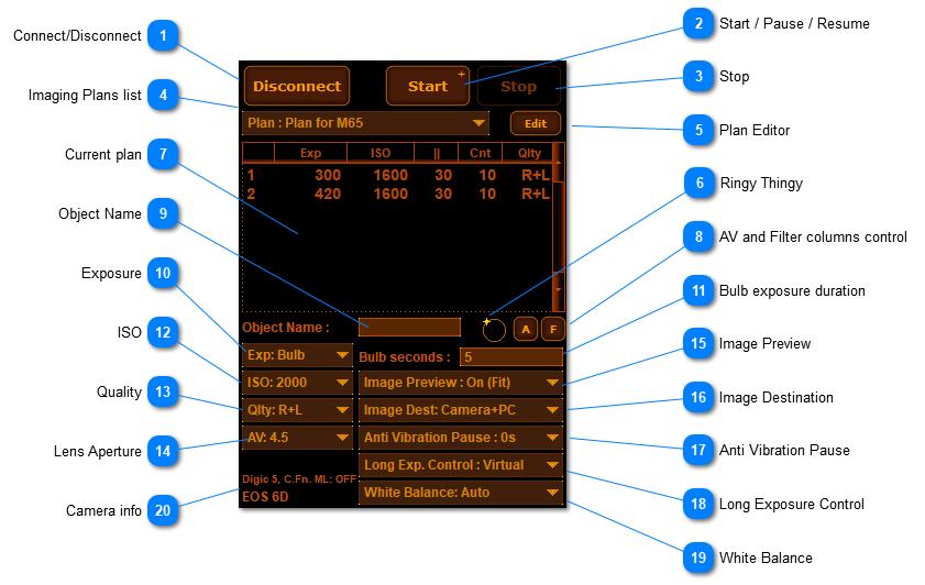 Camera Tab (DSLR mode)